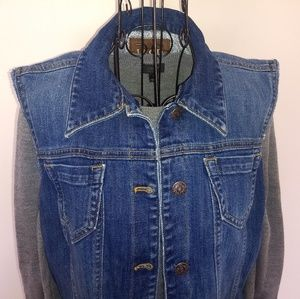 Cut Off Denim Jean Vest Izod Size Large Spandex